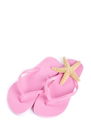 flops: Pink Flip Flops and Starfish Isolated on White