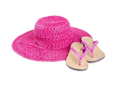 flip flops: Pink Straw Hat and Flip Flops Isolated on White Stock Photo