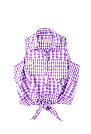 Purple Sleeveless Cotton Shirt Isolated on White