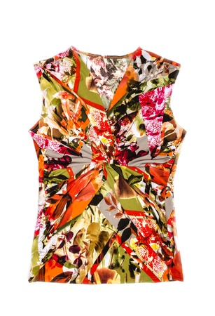 Woman s Colorful Sleeveless Shirt Isolated on White Banco de Imagens