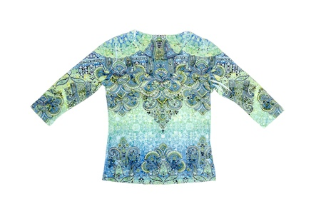 the sleeve: Woman s Colorful Long Sleeve Shirt Isolated on White Stock Photo