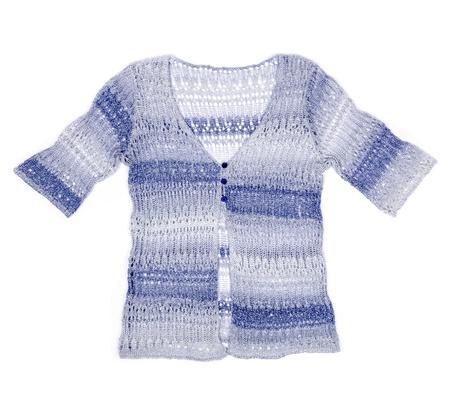 the sleeve: Woman s Blue Short Sleeve Crochet Sweater Stock Photo