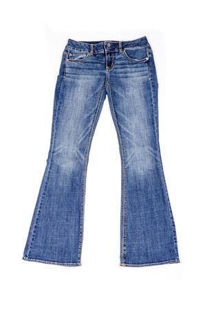 faded: Blue Flared Jeans Isolated on White