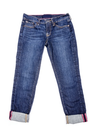 blue jeans: Blue Capri Jeans Isolated on White Stock Photo