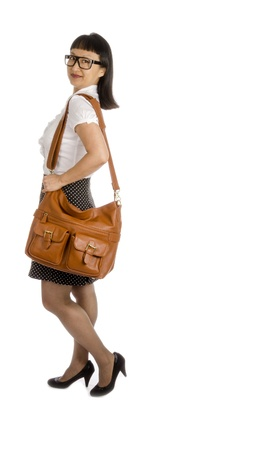 panty hose: Asian Woman in Black Eye Glasses and Office Outfit Isolated on White