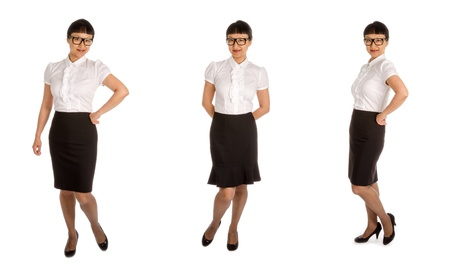 panty hose: Asian Woman with Black Glasses in an Office Workers Outfit Isolated on White