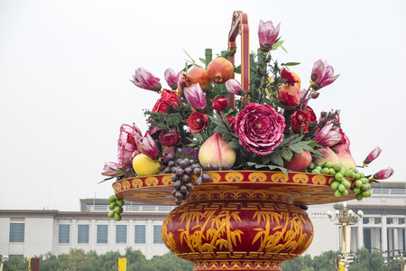 national fruit of china: Big Basket of Flowers and Fruits  Stock Photo