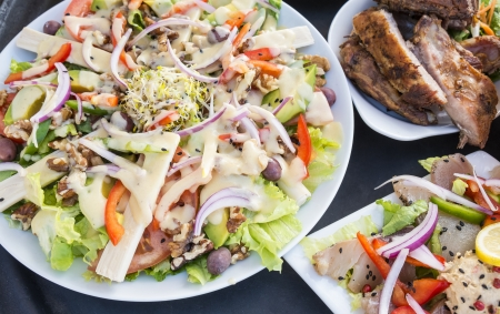 plateful: Plateful of Salad and Barbecued Ribs Stock Photo