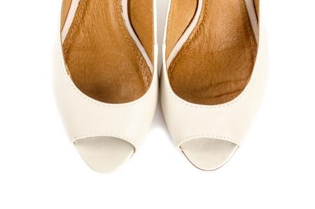 open toe: Bone White Open Toe Shows Isolated on White