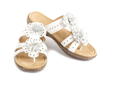 sandals isolated: White Leather Flip Flop Sandals Isolated Stock Photo