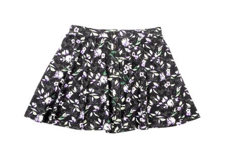 mini falda: Floral mini falda aislada en blanco