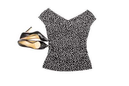 ファッション トップと高いヒールの靴は、白で隔離 写真素材