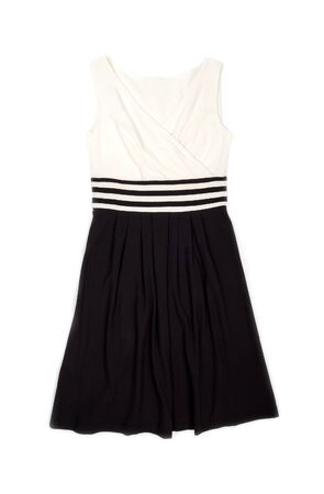 Sleeveless Dress in Cream and Black Isolated on White