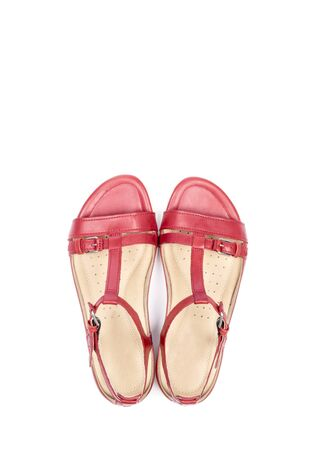 sandals isolated: Womens Red Leather Sandals Isolated on White Stock Photo