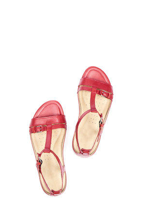Womens Red Leather Sandals Isolated on White Stock Photo