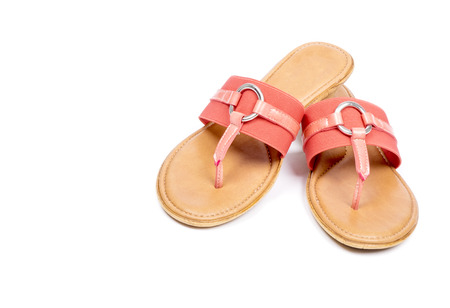 flops: Womens Pink Flip Flops Isolated on White Stock Photo