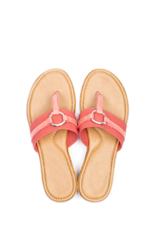 flip flops: Womens Pink Flip Flops Isolated on White Stock Photo