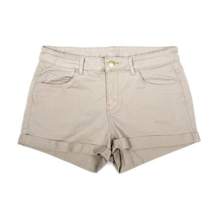 khakis: Pair of Womens Khaki Shorts Isolated on White