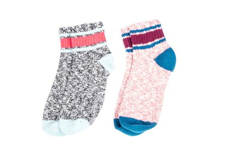 Colorful Cotton Ankle Socks Isolated on White Zdjęcie Seryjne