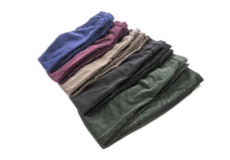 spandex: Women Velvet Pants in Assortment of Colors Isolated on White Stock Photo