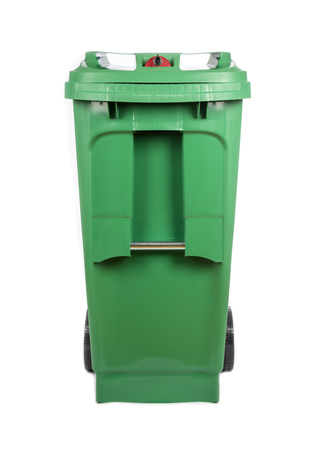 recycle bin: Green Compost and Recycle Bin Isolated on White Stock Photo