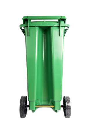 Green Compost and Recycle Bin Isolated on White Banco de Imagens