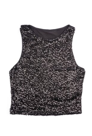 top: Womens Black Sequence Tank Top