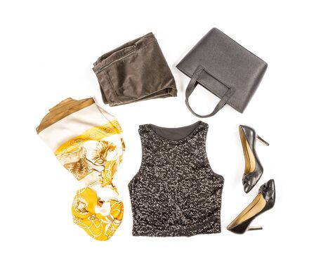 tank top: Black Sequence Tank Top with High Heel Shoes and Accessories