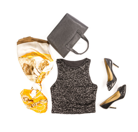Black Sequence Tank Top with High Heel Shoes and Accessories