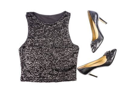 Womens Black Sequence Tank Top and Stilettos Shoes Isolated on White