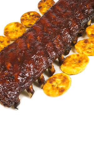 barbecued: Barbecued Pork Baby Back Rib and Fried Plantains