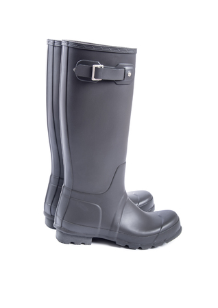 Mens Slate Grey Rubber Boots Isolated on White