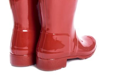 rubber boots: Womens Shiny Red Rubber Boots Isolated on White