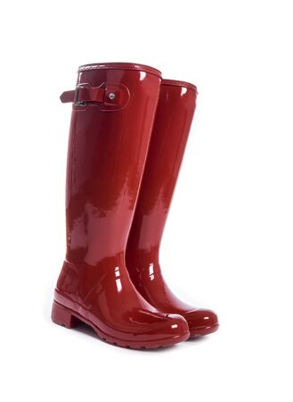 Womens Shiny Red Rubber Boots Isolated on White