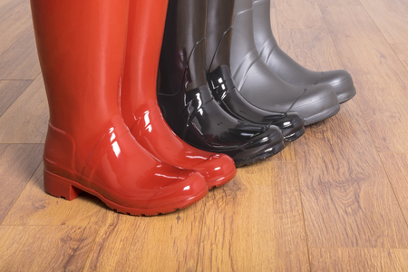 Womens and Mens Rubber Boots Stock Photo