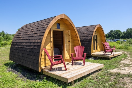 Little Wooden Huts For Overnight Stay in a Summer Camping Ground