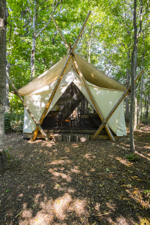 Large Camping Tent in the Woods