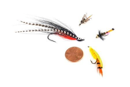 Various Size Fishing Flies Isolated on White