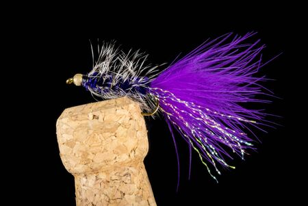 Colorful Hand Tied Fishing Flies Displayed on Champagne Cork Isolated on Black 版權商用圖片