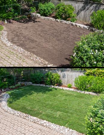 뒤뜰 정원에 새로운 잔디를 깔기 전과 후에 스톡 콘텐츠 - 79853485