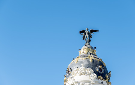 Top of the famous Metropolis Building in the Center of Madrid Spain