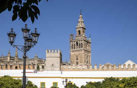 Distant View of Seville Cathedral in Spain Stock Photo