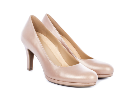 Womens Nude High Heel Pump Shoes Isolated on White Stock Photo