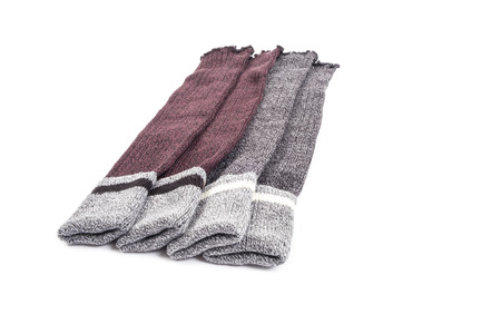 Two Pairs of Womens Wool Legwarmers Isolated on White