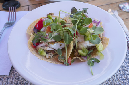 Haddock Fish Tacos Decorated with Pea Sprouts