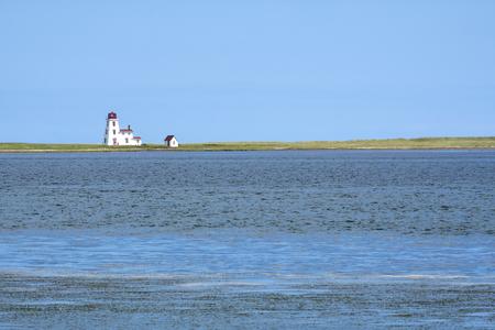 Cascumpec Lighthouse Viewed from North Port Pier Prince Edward Island Canada Reklamní fotografie