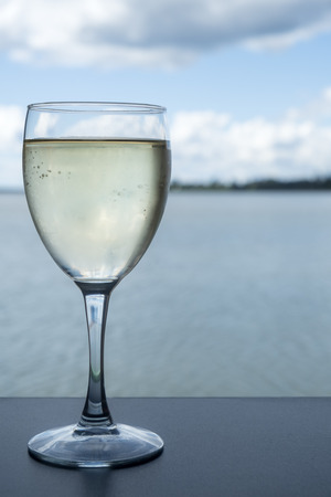 Glass of White Wine With an Ocean View as a Backdrop