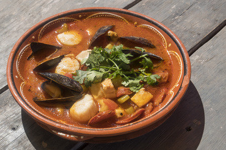 Maritime Fresh Seafood Stew Served at a Restaurant
