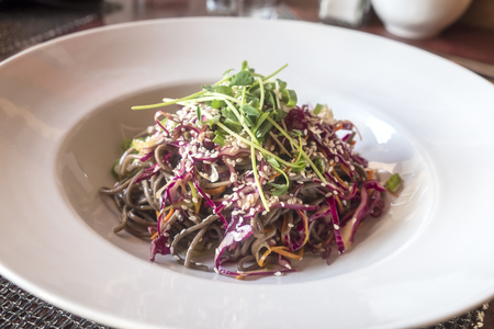 Buckwheat Noodle Salad Served in a Restaurant Stockfoto