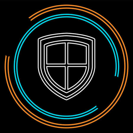 vector security shield emblem- protection and safety sign, shield icon. Thin line pictogram - outline stroke